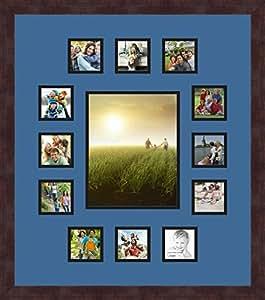 Art to Frames 双-多衬垫-676-817/89-FRBW26061 拼贴框架照片垫双衬垫带 12-3x3 和 1-8x10 开口和咖啡相框