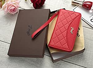 HeiL iPhoneX/XS 后备箱(亚马逊承诺提供)全新优雅奢华 PU 皮革经典风格手机壳适用于 Apple iPhone X iPhone X 红色经典