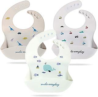 硅胶围嘴 婴儿围嘴 幼儿围嘴 可调节 舒适 防水 擦拭 男女通用 可爱 3件套 Dinosaur & Whale & Car 大