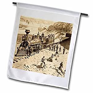 场景 from THE past 复古 stereoview – 场景 from THE Union Pacific railroad – 旗帜 12 x 18 inch Garden Flag