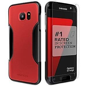 Sahara Case Galaxy S7 Edge Case, (Black Red) SaharaCase Samsung Protective Kit [Bonus Tempered Glass Screen Protector] Rugged Shock-Absorption TPU Rubber Bumper [Premium Finish] Hard Plastic Frame Slim Fit