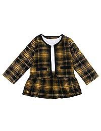 幼童女童格子连衣裙外套外套夹克上衣芭蕾舞短裙连衣裙时尚秋冬服装正式套装