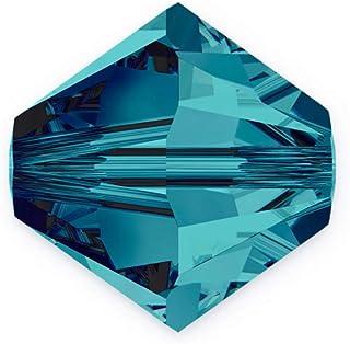 100 颗正品 3 毫米小施华洛世奇水晶 5328 Xillion 双锥体水晶珠用于珠宝制作(玫瑰色) SWA-b303
