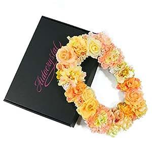 手工墙饰 花卉交织字母 人造花制作 O approximately 32 * 22 * 3