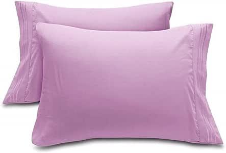 DreamHome 超细纤维枕套,2 件套(标准,桃红色) Stripe Lilac King