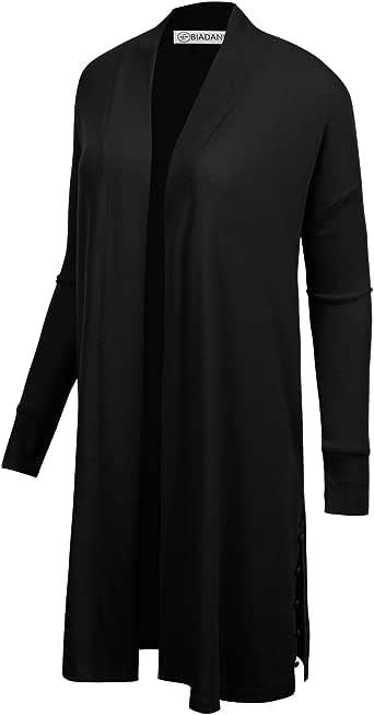 BIADANI 女式长袖经典轻型前开高低垂褶开衫 A-black Small