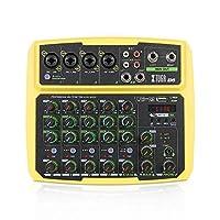 XTUGA B4/B6 彩色混音器 4/6 通道多功能迷你音乐混音器 DJ 混音控制台内置声卡,蓝牙,USB,48V 幻影电源,适用于电脑录音,直播(B6,黄色)