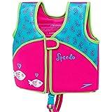 Speedo 女孩氯丁橡胶游泳背心,粉红色和水* - M 码