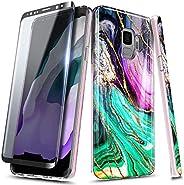 E-Began 大理石系列手机壳适用于三星 Galaxy S9 带软屏幕保护膜(3D 弧形全覆盖),超薄光面时尚,金色闪光,柔软 TPU 橡胶凝胶手机壳 - Cosmo