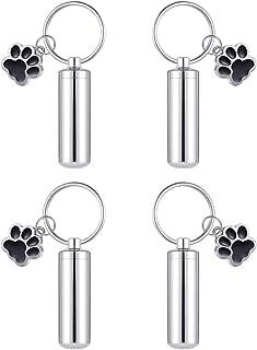 4 件装 Angel Wing Charm 火葬首饰,用于灰烬纪念品小牛缸钥匙扣,包括照片纪念钥匙扣 Pet Paw Charm