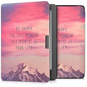 kwmobile 翻盖手机壳 Kobo Aura Edition 2 - 仿皮可折叠黑色手机壳 Be Happy light pink violet coral