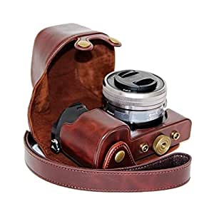 J.M.SHOW A6300相机皮套索尼 ILCE-6000L/W 微单保护套 索尼sony a6000 NEX 6相机包 镜头16-50mm相机内胆包摄影相机配件 内配相机肩带 咖啡色