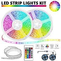 Elvissmart RGB 彩色 LED 条遥控器,适用于房间、天花板、卧室、橱柜、照明(2x5米)