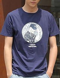 MPSMOVE 思慕夫 2018夏季【纯棉】休闲男T恤印花圆领男t恤短袖T恤衫男士个性T恤 XJ1809【704】