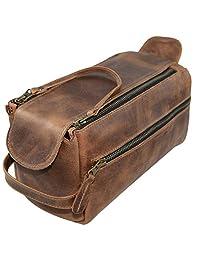 隐藏和饮料,皮革洗漱包/*/卫生收纳/旅行包/浴室/剃须,手工制作包括 101 年质保:波本本棕色