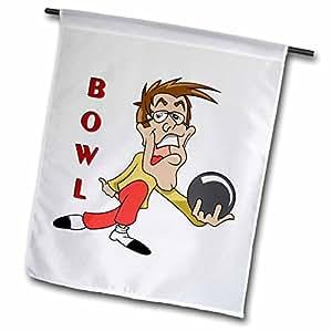 dooni Designs 运动和小马设计–趣味保龄球 MAN 卡通人物运动设计–旗帜 12 x 18 inch Garden Flag