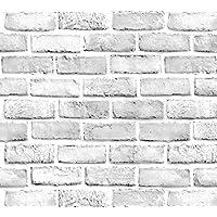 "White Brick 壁纸 - 即剥即贴壁纸 - 自粘壁纸 - 轻松移除壁纸 - 3D 壁纸 - 用作壁纸、接触纸或架纸 White Brick Wallpaper 23.6"" x 177"""