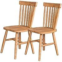 百伽 现代简约全实木餐椅小户型客厅水曲柳餐厅家用餐椅子温莎椅2把61944【亚马逊自营,供应商配送】