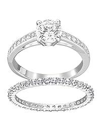 Swarovski 施华洛世奇女式基础款金属透明玻璃时尚戒指  银色