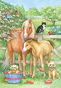 Toland Home Garden Pasture Pals 12.5 x 18 Inch Decorative Spring Flower Country Farm Animal Horse Dog Cat Garden Flag