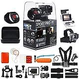 SportPro 4K UHD WiFi 触摸屏动作相机,带无线腕遥控器和*高级配件套件 - 触摸屏和无线腕遥控 - 4K@30FPS 超高清 - 备用电池 - 胸带