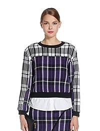 Five Plus 女式 时尚格子毛呢拼接宽松圆领长袖衬衫 2YM3014460