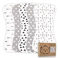 *飽嗝布,男女寶寶適用 - 5 件裝超吸水性打嗝布,飽嗝布,新生兒毛巾 - 牛奶吐奶布,男女皆宜 - 飽嗝布套裝 Grayscape