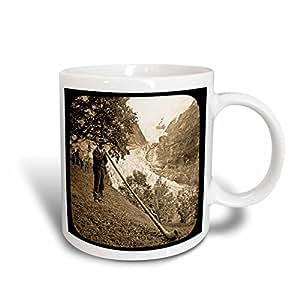 3dRose Vintage Swiss Alphorn Sepia Ceramic Mug, 15-Ounce