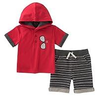 Calvin Klein 婴儿男孩2件连帽短裤套装