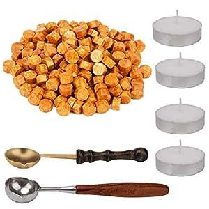 AIEX 200 件八角形密封蜡珠蜡信封套装,含 4 件茶蜡烛和 2 件蜡熔勺,用于蜡印章字母 金色 AI140912
