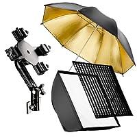 walimex 4 个闪光支架,含 60 厘米软盒和雨伞19529 金色