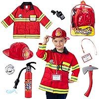 Born Toys (8 件高级可水洗消防员服装和消防员配件,带真水射灭火器),非常适合万圣节