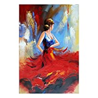 Wieco Art Flying Skirt Modern Artwork Abstract Dancing People Oil Paintings on Canvas Wall Art for Home Decorations Wall Decor, Stretched and Framed Art work, 24inch by 36inch