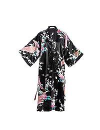 亚洲家居花孔雀缎丝绸和服长袍,装扮礼服,新娘,礼物,均码