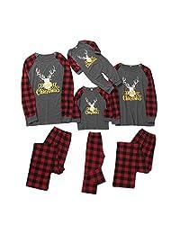 配套家庭睡衣套装圣诞快乐长袖 T 恤和红色格子裤休闲服