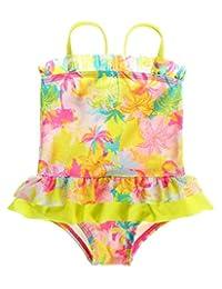 attraco 女婴连体裙泳衣儿童泳装波点褶皱