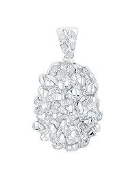 Bling Factory 镀铑 25mm x 32mm 粗块小块纹理勋章吊坠 + 超细纤维珠宝抛光布