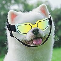 狗狗护目镜,*可调节肩带狗太阳镜,防水防风防紫外线,适合旅行滑雪和防雾(彩色)