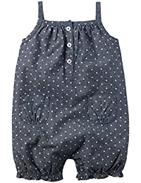 Carters Baby Girls 4th of July Star Print Chambray Romper