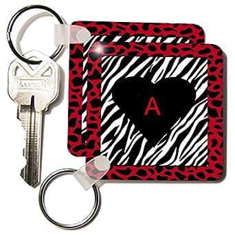kc_54193 Florene Décor II - Zebra Print With Red Border Black Heart n Red A - Key Chains