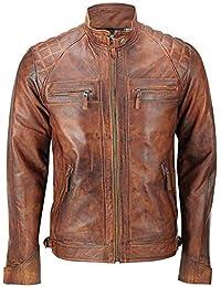 男士骑行者绗缝经典复古仿旧棕色皮夹克