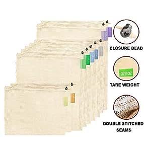 purifyou 高级可重复使用网眼/产品袋   *双缝合强度,标签上有皮重   多种尺寸和数量 Unbleached Cotton Set of 9 Mixed PRMB-09-COTTON