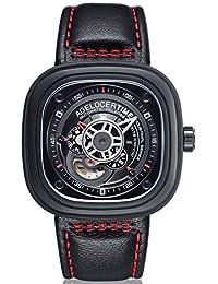 agelocer 艾戈勒 瑞士品牌 50米防水 24小时显示 小牛皮 自动机械男士手表 时尚创意镂空方形男表 5004J1 红间黑皮(亚马逊自营商品, 由供应商配送)