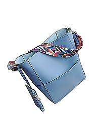 jiaruo 设计师水桶包女式真皮宽肩带单肩包手提包