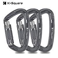 K-Sqare 认证登山登山扣,3 件装,24KN (5400) 灰色/银色重型大型自动锁登山扣夹,用于岩石/攀冰/攀冰/攀岩/急救秋千等