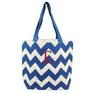Cathy's Concepts Chevron Parchment 黄麻手提包,蓝色 蓝色 E 2141BL-E