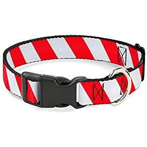 """Buckle Down PC-W30334-NL 糖果手杖塑料夹套圈 Candy Cane2 Stripe White/Red 1"""" Wide - Fits 9-15"""" Neck - Small"""