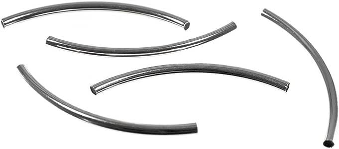 西海岸跳伞绳 50 毫米弧形管珠 – 圆形管间隔珠 – 50 X 2MM – 珠宝和工艺 Copper Silver 每包10条 10 X 50MM-SLV-CRVDTUBEBEAD-~WCP_AK19