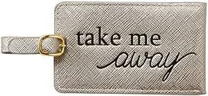Mud Pie 女士人造皮革金属行李标签 6.35 厘米 x 11.43 厘米 80210014 锡色 80210014PW