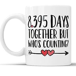 23 周年咖啡马克杯 - 8395 天在一起但是谁数有趣结婚纪念日礼物,23 周年纪念礼物,Jubilee 礼品杯 白色 11 oz